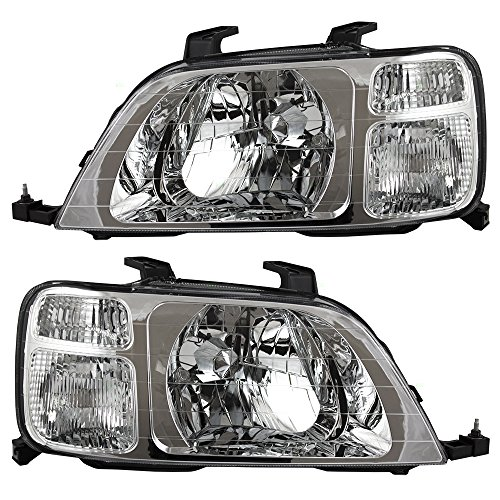 Headlights Headlamps Driver and Passenger Replacements for 97-01 Honda CR-V SUV 33151S10A01 33101S10A01