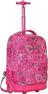 Girlsピンクペイズリー花柄テーマRollingバックパック、美しいAll Overモチーフ花、ペルシャデザイン印刷スーツケース、子供用スクールバッグ、ダッフルwithホイール、Wheeling Luggage、軽量ファッショナブル