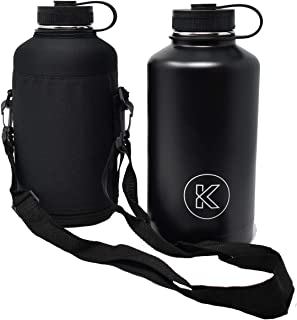 KOLLOX Growler Stainless Steel Vacuum Large Sports Hiking Picnic Water Bottle with Carrying Case, 64oz