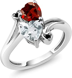 Gem Stone King 1.60 Ct Heart Shape Sky Blue Aquamarine Red Garnet 10K White Gold Diamond Ring (Available 5,6,7,8,9)
