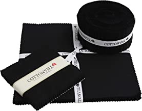 COTTONVILL 20COUNT Cotton Solid Quilting Fabric (2.5inch Strip, 02-Black)