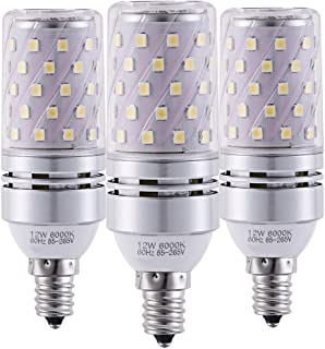 YRLighting Corn E12 LED Bulbs, 12W LED Candelabra Bulb 100 Watt Equivalent, 1200lm, Decorative Candle Base E12 Non-Dimmable LED Chandelier Bulbs, Daylight White 6000K LED Lamp, Pack of 3
