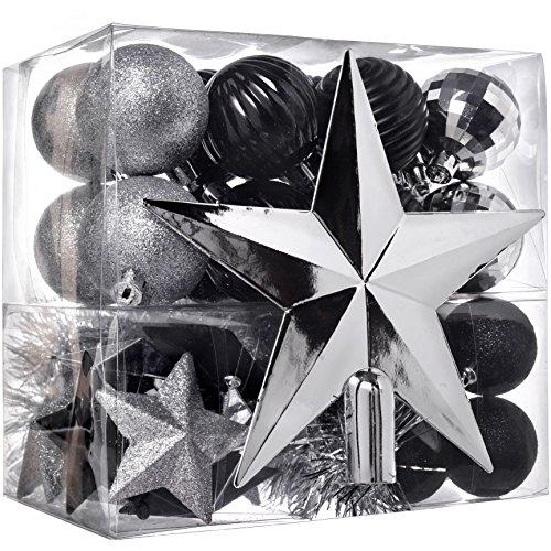 WeRChristmas Christbaumkugel-Set, 42-teilig, bruchsicherer Kunststoff, inkl. Lametta und Schmuck für Baumspitze Silber/schwarz
