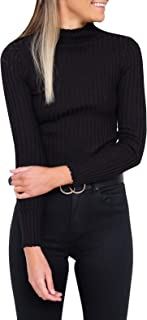 PRETTODAY Women's Long Sleeve Ribbing Tops Casual Basic Turtleneck Shirts