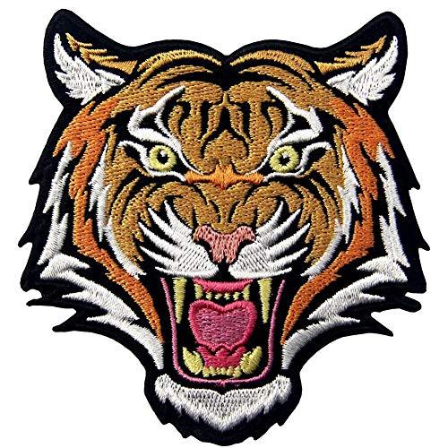 Ohrong Cool Roaring - Parche bordado de cabeza de tigre de bengala con gancho y lazo en la parte trasera para ropa, gorros, chaqueta, vaqueros