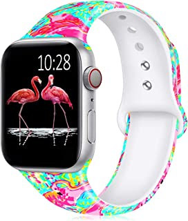 GeekSpark Band Compatible with Apple Watch 42mm 44mm,Fadeless Pattern Printed Floral Silicone Replacement Bands for iWatch Series 4,3,2,1/Women Men Flamingo 42mm/44mm M/L