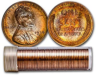 1936 D Wheat Penny Complete Original Roll 50 Coins Brilliant Uncirculated