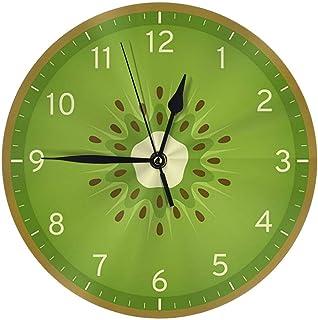 Night Ing Reloj de Pared Redondo de Frutas de Kiwi de Verano para la Escuela de la Oficina del Estudiante Arte Decorativo del Reloj del hogar