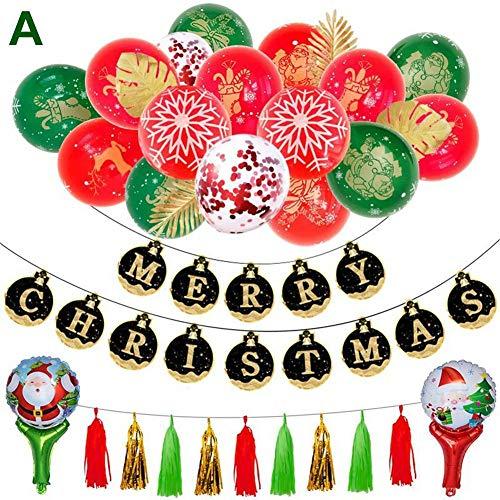 Kerstmis ballonnen set duurzaam veilig milieuvriendelijke latex ballon met banner decoratieve ballon geschikt voor woonkamer, slaapkamer A