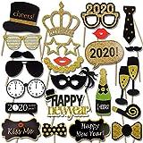 Konsait Fotoautomaten-Set für Neujahrsfotos, 21 Teile, lustige Silvester-Party mit Stab für Erwachsene, Kinder, Frauen, Männer, Party-Zubehör für 2019, Neujahr, Party-Dekoration