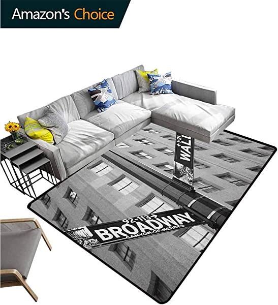 YucouHome New York High Traffic Area Rug Kids Street Signs Of Intersection Of Wall Street And Broadway Finance Destinations Fashionable High Class Living Dinning Room 3 X 5 Black And White
