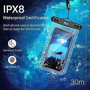 YOSH Funda Impermeable Móvil Universal 2 Unidades, Bolsa para Móvil Estanca a Prueba de Agua IPX8 para iPhone 12 Pro XS MAX XR X 8 7 6s 6 Plus SE 5s XiaoMi RedMi Samsung Huawei hasta 7''