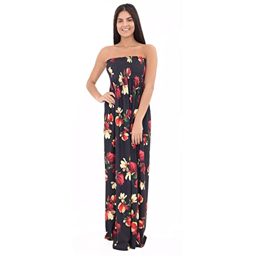 32125aa33b Womens Ladies Flower Printed Strapless Bandeau Sharing Sleeveless floral  Maxi Dress Plus Sizes