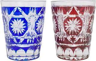 切子グラス ペアセット 銅赤・瑠璃2色組 焼酎グラス ロックグラス クリスタルガラス製 酸化鉛24% 木箱つき【創作切子】