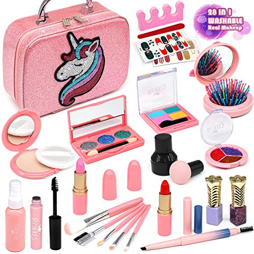 Enjoybot Kids Makeup Kit for Girls - 2021 Newest 28PCS Unicorn Kit for Little Girls ,Real Kids Makeup Toys ,Kids Play Washable Makeup Set , Best Girl Gifts for 3/4/5/6/7year