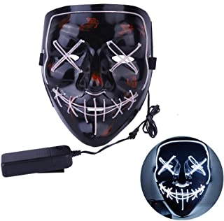 CANASOUR Frightening Wire Halloween LED Light up Mask for Festival Parties Cosplay Costume