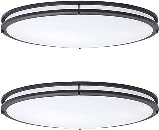 ASD 32 Inch Oval LED Flush Mount Ceiling Light, 3CCT 3000K/ 4000K/ 5000K Adjustable, 120-277V, Oil Rubbed Bronze Dimmable ...