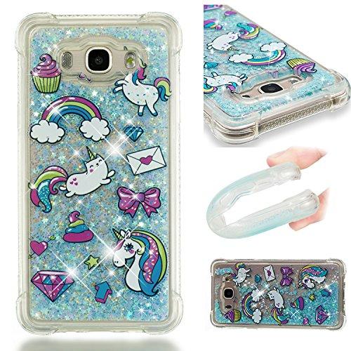 HopMore Compatible con Funda Samsung Galaxy J7 2016/2015 Silicona 3D Glitter Liquido Brillante Purpurina Transparente Carcasa Resistente Ultrafina Case Cover Antigolpes para Mujer Niña - Unicornio
