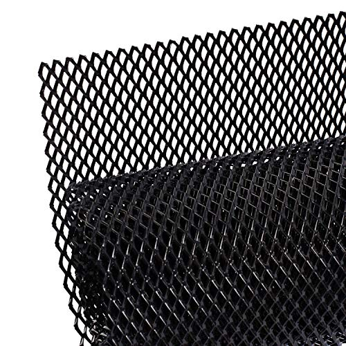 AggAuto Universal 40'x13' Car Grill Mesh - Aluminum Alloy Automotive Grille Insert Bumper Rhombic Hole 6x12mm, One of the Most Multifunctional Shape Grids Black