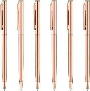Unibene Slim Metallic Retractable Ballpoint Pens - Rose Gold, Nice Gift for Uniform Office Students Teachers Wedding Christmas, Medium Point(1 mm) 6 Pack-Black ink