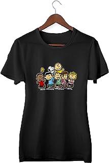Snoopy Charlie Brown and Friends Team_KK015617 Shirt T-Shirt Tshirt para Mujeres - Black