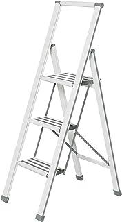 Wenko Escalera Plegable con 3 peldaños, Aluminio, Color Bla