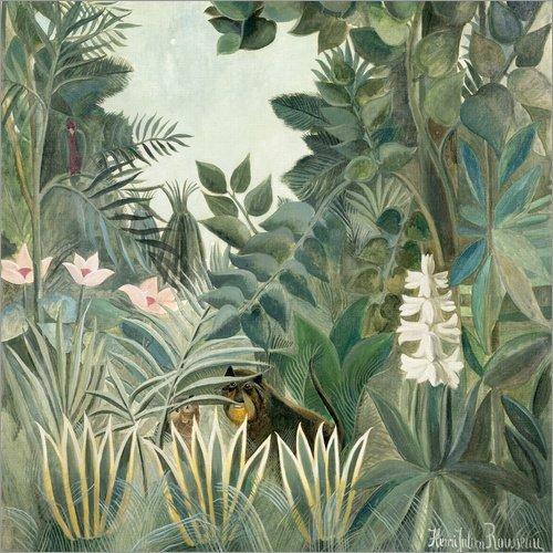 Posterlounge Acrylglasbild 40 x 40 cm: Äquatorialer Dschungel von Henri Rousseau - Wandbild, Acryl Glasbild, Druck auf Acryl Glas Bild