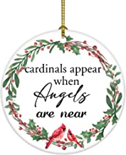 JUOOE Cardinals Appear When Angels are Near First Christmas Ornament Sign for Wreaths..