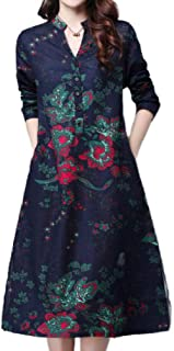 Howely Womens V-Neck Swing Floral Button Long Sleeve Mid Dress