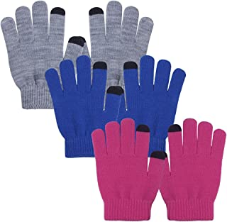 EvridWear Kids Warm Gloves with Touchscreen Fingers, Children Knit Gloves Boy Girl Fall Winter Cool Cold Weather 3 Pair Package (L size)