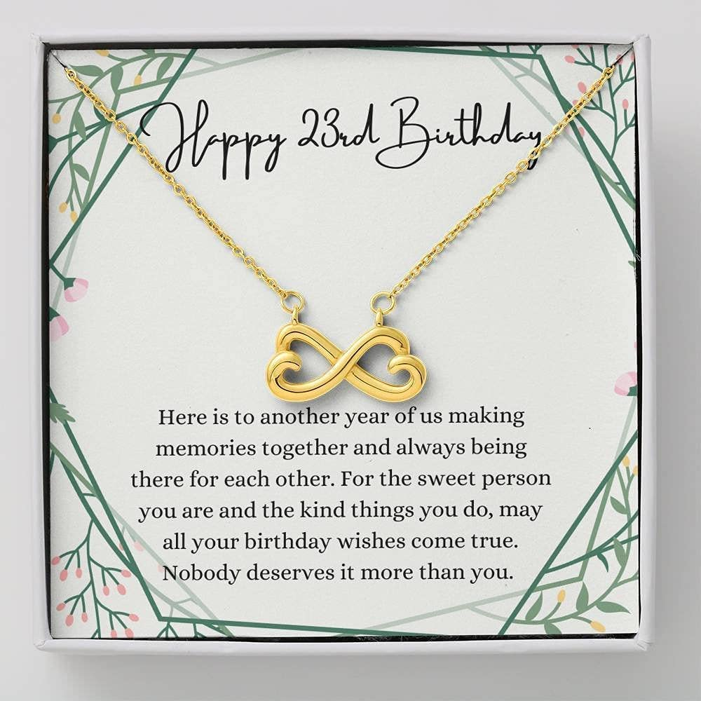 Infinity Hearts discount Happy 23rd Birthday Necklace 2021 spring and summer new With Card Message