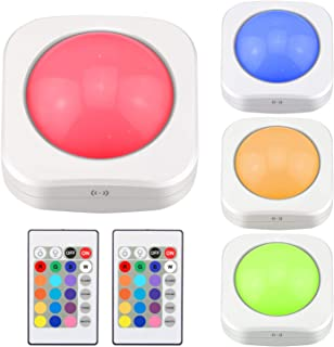 LUXSWAY Puck Light Battery Powered Button Light Remote Light 4 Lighting Modes 16 Color Changing Touch Light for Closet/Bed...
