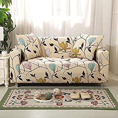 Eunzel Stretch Sofa Covers,Loveseat Slipcovers with Elastic Bottom,Slip Resistant Furniture Protector (Sofa-3 Seater, Flower-2)