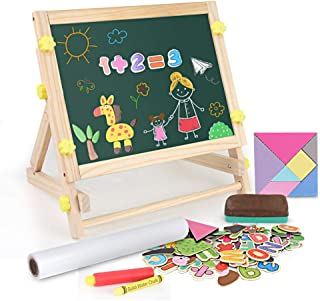 BeebeeRun Kids Tabletop Easel with Paper Roll,Double-Sided Whiteboard & Chalkboard Tabletop Easel with Magnetic Letters & ...