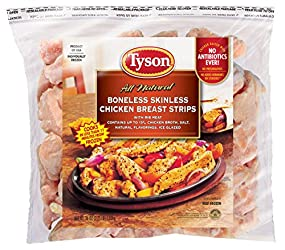 Tyson Boneless Skinless Chicken Breast Strips, 2.25 Pound (Frozen)