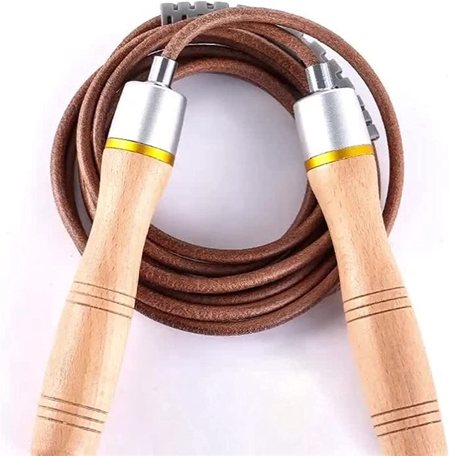 Jump Rope 1pcs ump with and Purchase Leather Max 80% OFF Wood Adjust Handle