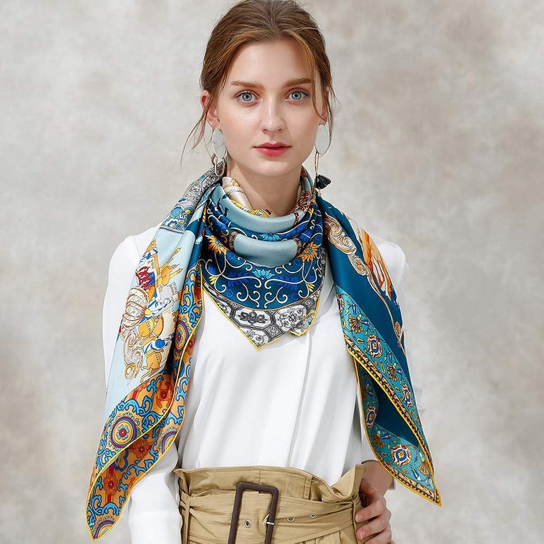 AchangScarf Printed Silk Scarf Female Spring Large Square Scarf Stylish Temperament Shawl Scarves Box (color   A)