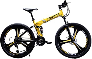 Tengma 24in Folding Mountain Bike 21 Speed with High Carbon Steel Frame, Tolan Disc Brake, Full Suspension Anti-Slip Bikes...