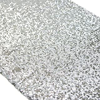 BalsaCircle 12X90-Inch Sparkly Silver Sequin Table Runner for Wedding Happy Year-Silver