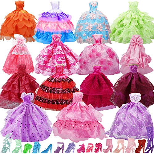 Bymore 15 Pack Handmade Doll Clothes Dress & 15 Pairs Doll Shoes for 11.5 Inch Doll, Accessories Lace Wedding Party Dresses Gowns Outfits Gifts,Organza Drawstring Pouches Gift Packing.