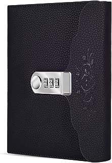 ARRLSDB Lock Diary Leather Journal Writing Notebook Planner Organizer Digital Password Notebook Locking Personal Diary (Black)