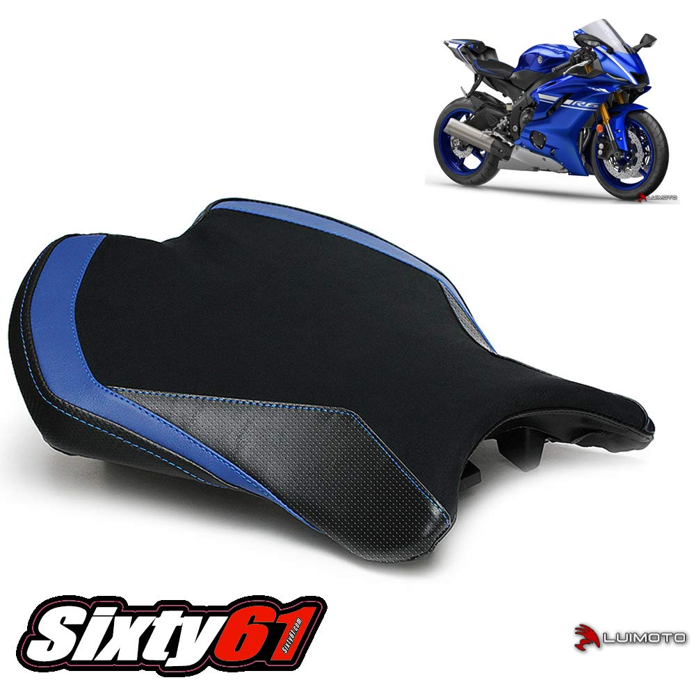 MT09 FZ09 by Sixty61 Carbon Fiber Look Front and Rear Luimoto Seat Covers for Yamaha FZ-09 MT-09 2014-2020 with Gel Pad Black and Blue