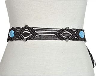 Handmade wax rope woven waist chain Women's new national wind belt (Color : 04)