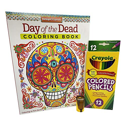 ECC 12 Pack Colored Pencils and Jot Pencil Sharpener Bundled with Design Originals Day of the Dead Adult Coloring Book by Thaneeya McArdle (3 Items)