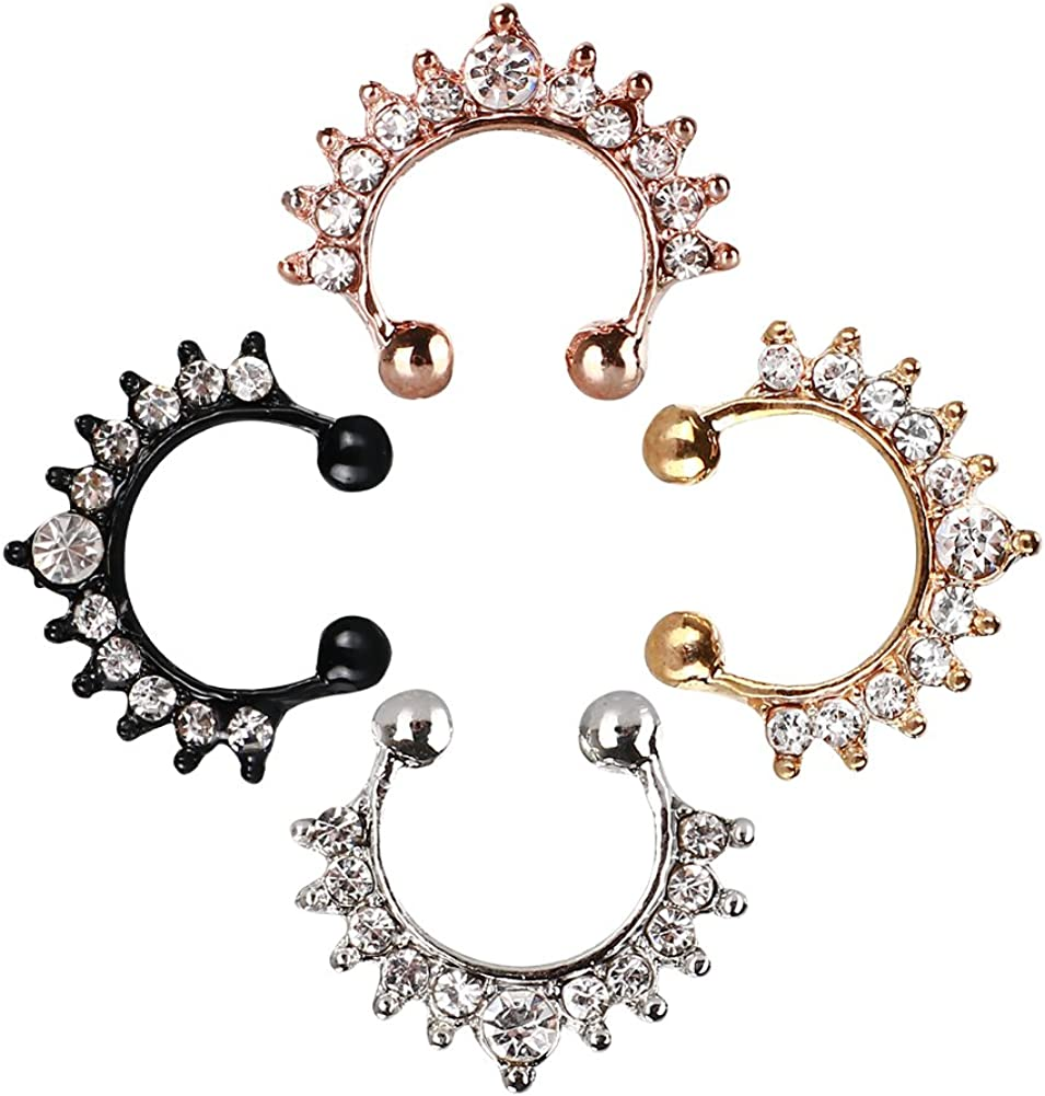 TOFOCO Time sale COM Fake Nose Rings All items in the store 4-Pcs Hoop Pi Ring Set Faux