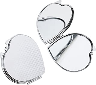 Blesiya 2Pcs Heat Shape Travel Portable Folding Handbag Pocket Compact Makeup Mirror