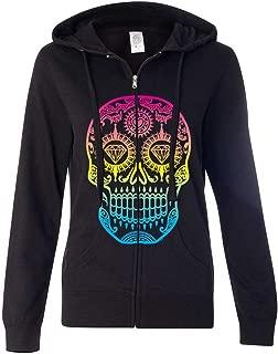 Neon Diamond Eyes Smiling Sugar Skull Ladies Zip-Up Hoodie