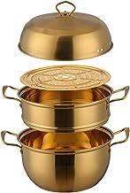 Steamer Pot 1 Pcs Steamer Pot Stainless Steel Three Layer Thick Gold Steamer Pot Soup Steam Pot Cooking Pots Cooker Gas St...