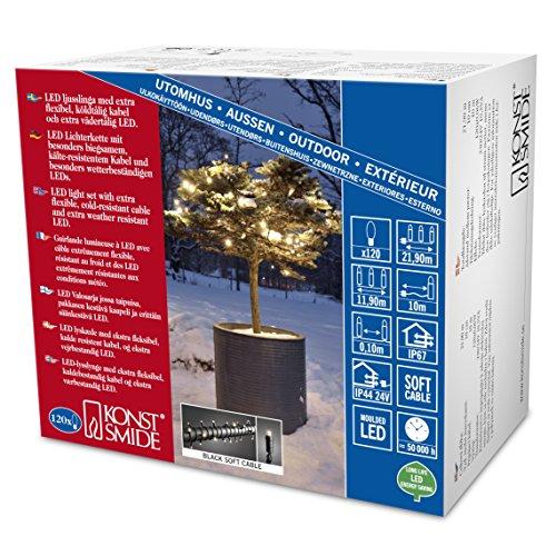 Konstsmide 6612-117 Guirlande d'Eclairage Extérieur 120 Micro LEDs Soudées Étanches 24 V Blanc Chaud Câble Noir Doux