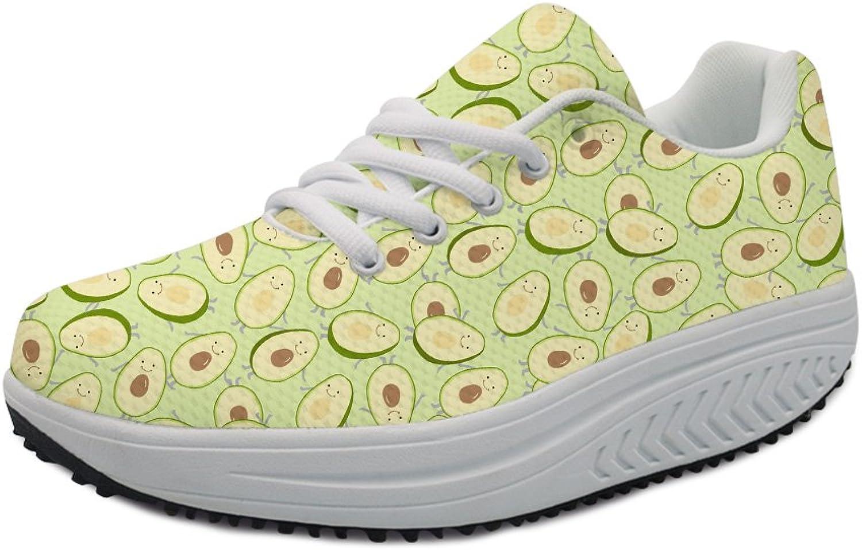 FOR U DESIGNS Fashion Avocado Printing Women's Platform shoes Casual Swing Wedges Sneaker US5-US11